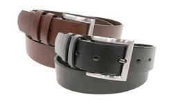 Hot Spot NY Men's Leather Belt 2 Pack - Brown & Black - Size: Medium