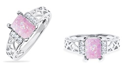 Sevil 2.00 CTTW Created Pink Opal Ring in 18K White Gold - Size: 6