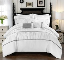 Chic Home 10 Piece Cheryl Pleated & Ruffled Bed - White - Size: Queen