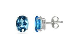 Women's 14K White Gold Genuine Topaz Stud Earrings - Blue - 1 Pair