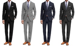 Braveman 2-pack Classic Fit 2-piece Suits: Black/light Grey - 48r/42w