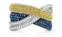 Beauty Gem 1 1/3CTTW Princess Cut Diamond Ring - Blue/Yellow - Size: 7