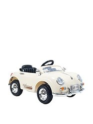 Lil' Rider Kid's 58 Speedy Sportster Battery Operated Classic Car with Remote, White, One Size
