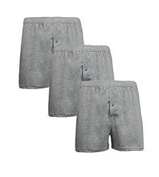3-pack Men's Premium Blend Soft Knit Tagless Boxers: Heather Grey/Medium
