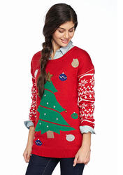 Derek Heart Women's Christmas Tree Ornament Sweater - Red - Size: M