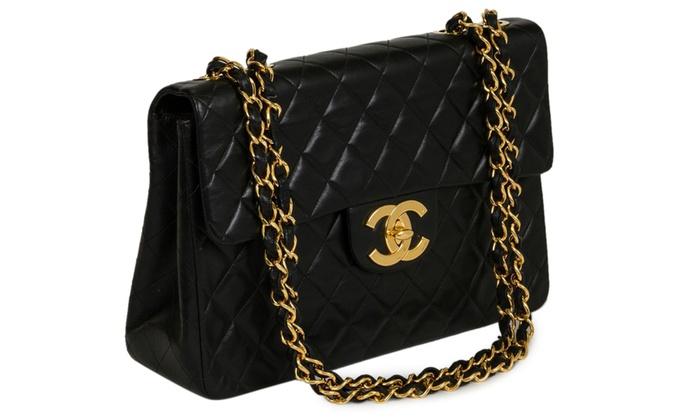 ... Chanel Women s Vintage Lambskin 10 Double Flap Handbag - Black ... 3b0881c7ae