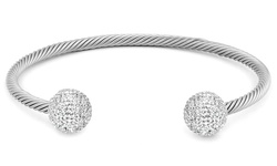 Regal Jewelry Ball End Cuff Bracelet with Swarovski Elements Crystals