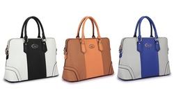 Dasein Women's Color-Block Slim Briefcase Handbag w/ Wallet - White/Black