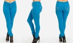 Moda Xpress Women's Skinny Pants with Embellished Pockets - Blue - Size: L