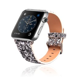 My Deal Products Leather Bling Apple Watch Band 38mm - Silver