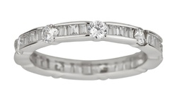 Round and Baguette Cubic Zirconia Eternity Band in Sterling Silver - Size: 7