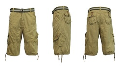 Harvic Men's 100% Cotton Distressed Cargo Shorts - Khaki - Size: 38