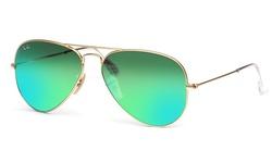 Ray-Ban Unisex Sunglasses - Matte Gold Frames/Green Lens