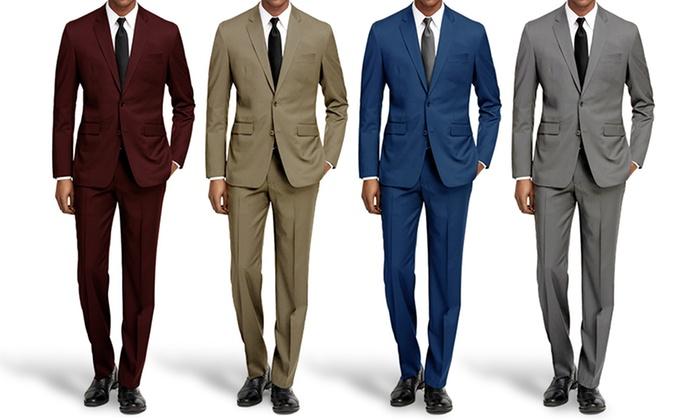 10344e921ed ... Braveman Men s Slim Fit Fashion Suit - Burgundy - Size 40LX34W ...