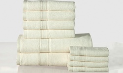 Casa Platino 10-Piece Heavyweight Cotton Bath Towel Set - Ivory