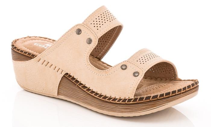 63aa4b65bea Lady Godiva Women s Double Strap Comfort Wedge Sandal - Beige - Size ...