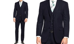 Mundo 3 Piece Men's Solid Slim Suit - Black - Size: 38R x 32W