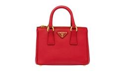 Prada Saffiano Leather Mini Tote Bag - Red Fuoco