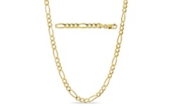 """Sterling Silver Unisex 24"""" Solid 14K Gold Figaro Chain - Yellow"""
