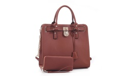MKII Nikki Women's Satchel Bag and Matching Wallet Set - Brown