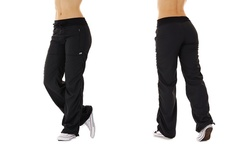 Marika Stretch Woven Drawcord Pants: Black/small
