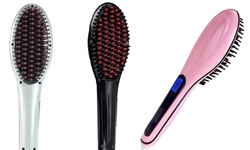 Alayna Instant LED Straightening De-tangling Hair Brush - Pink