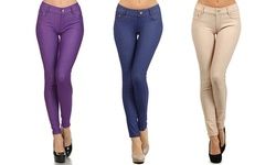 5 Pocket Slimming Leggings: Dark Blue-purple-camel/large-xl (3-pack)