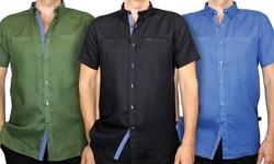 Harve Benard Men's 100% Linen Short Sleeve Shirt - Flax - Size: Small