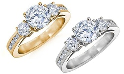 Sterling Silver 2.8 CTTW Tri-Stone Bridal Ring 18K Yellow Gold - Size: 7