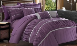 10-piece Penelope Bed In A Bag Comforter Set: Queen/plum