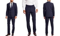 Vince Camuto Fine Check Slim Fit Suit - Medium Blue - Size: 40R/33W