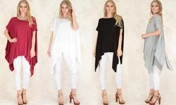 Lyss Loo Women's Draped Tunic Top - Black - Size: S/M