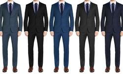 Brunello Men's 2 Piece Slim Fit Suits: Petrol/42sx36w