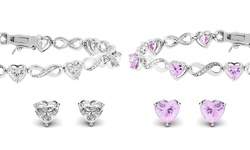 Golden Moon Infinity Heart Tennis Bracelet Set in 18k White Gold - Pink