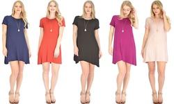 Lyss Loo Women's T Shirt Tunic Dress - Navy - Size: Medium