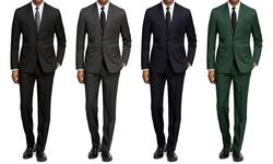 Braveman Slim Fit Suit: Black/46l-40w