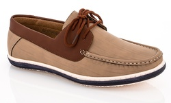 Franco Vanucci Men's Boat Shoe - Beige/Tan - Size: 12