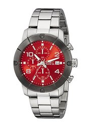 Invicta Men's Chronograph Watches: Invicta-18047 Silver-tone Band/red Dial