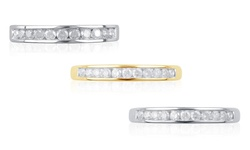 1/4 Cttw Round Diamond Channel Band: 10k Yellow Gold / 7