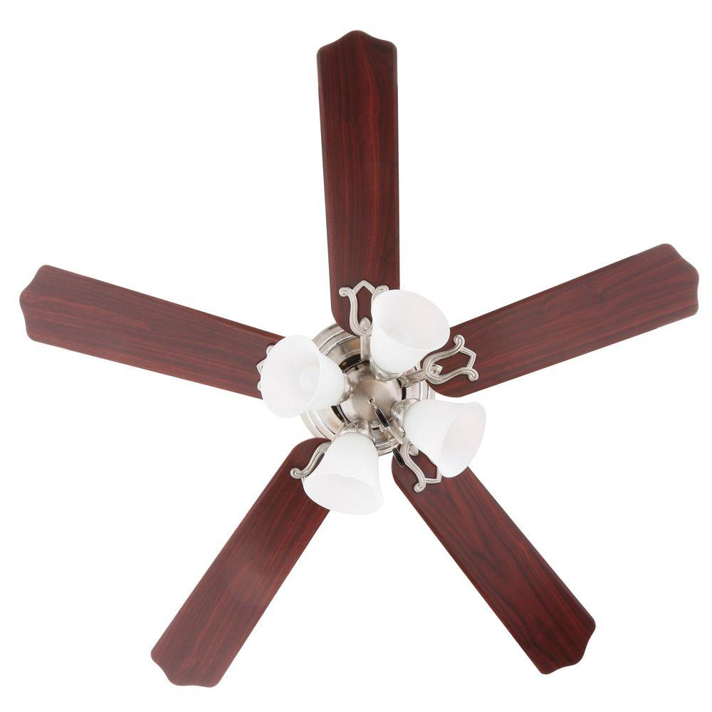 Hampton Bay Carriage House 52 Indoor Brushed Nickel Ceiling Fan 46010