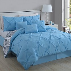 Essex 7-piece Pinchpleat Comforter Set: King/light Blue