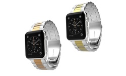 Waloo SS Classic Buckle Apple Watch Band - Silver-Rose Gold - Size: 38mm