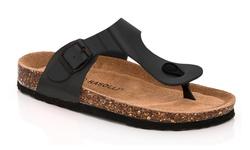 Rasolli Women's Footbed Thong Sandal Berta - Black - Size: 8