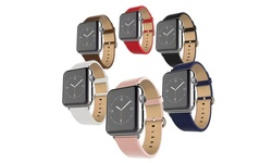 Waloo Leather Grain Apple Wristwatch Band - Navy - Size: 38mm