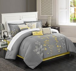 Brooke Bliss Garden Embroidered Piece Comforter Set - Yellow - Size: Queen