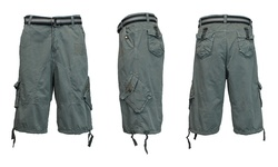 Galaxy By Harvic Men's Cotton Distressed Cargo Shorts With Belt - Grey - Size:36