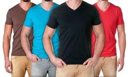 NLA Men's Premium Cotton Blend V Neck Shirt - Turquoise - Size: Medium