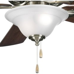 Progress Lighting Fan Kit with Etched Glass Bowl Quick - Brushed Nickel