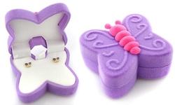 Kids' Butterfly Purple Earrings