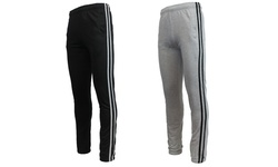 Men s Soft Knit French Terry Striped Sweatpants- black- medium